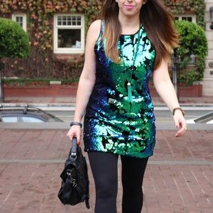 Green Blue Sequin Velveteen Dress